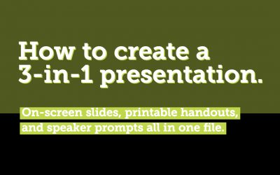 On-screen, in-print, and speaker prompts in onefile.